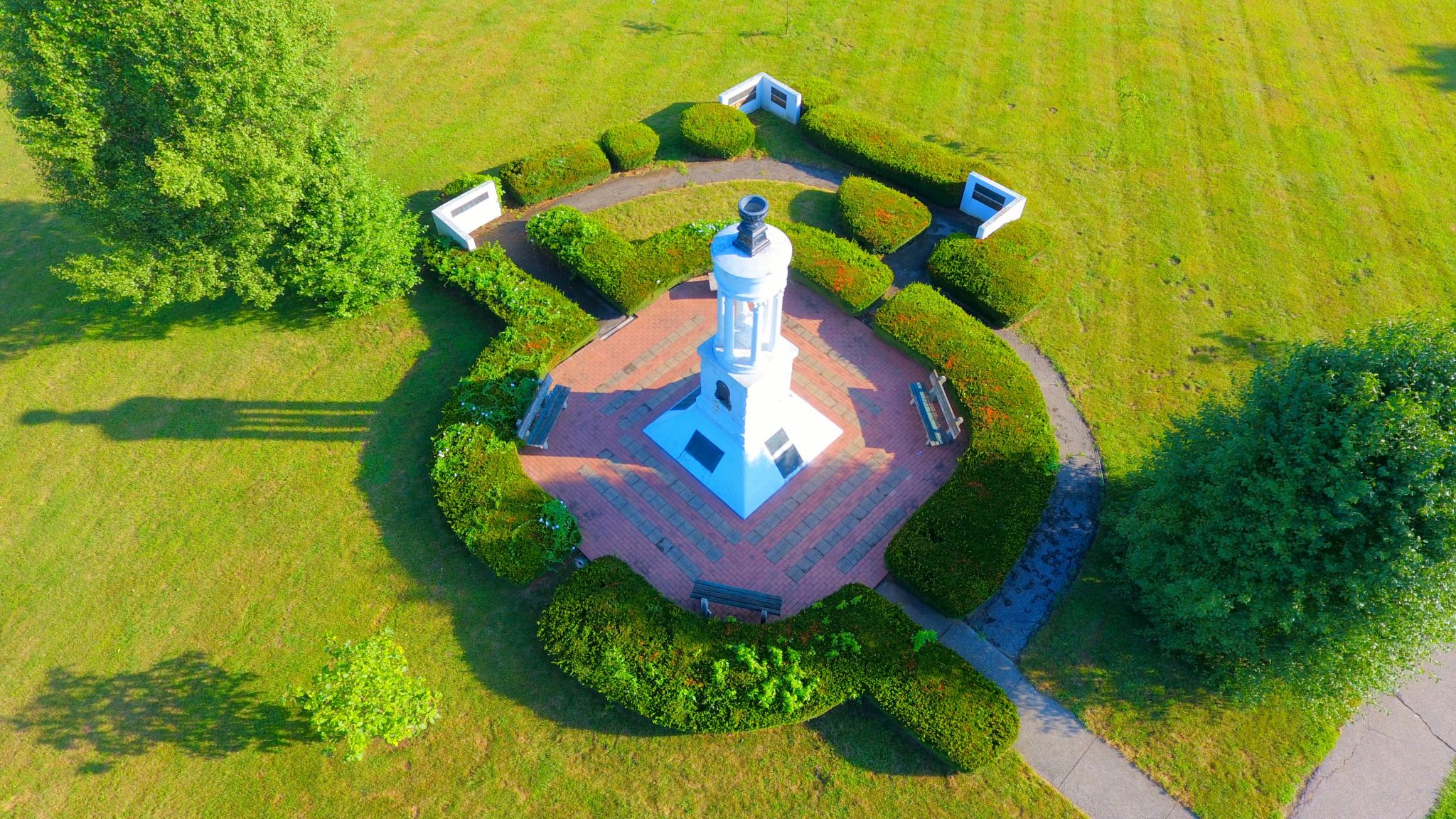 arial view of campus monument