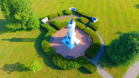 arial view of monument on campus