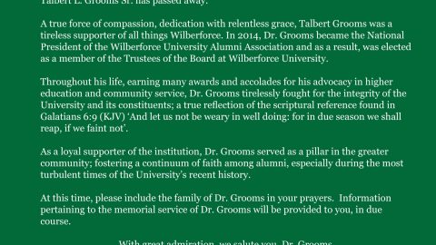 Special Message from the Wilberforce University Chairman