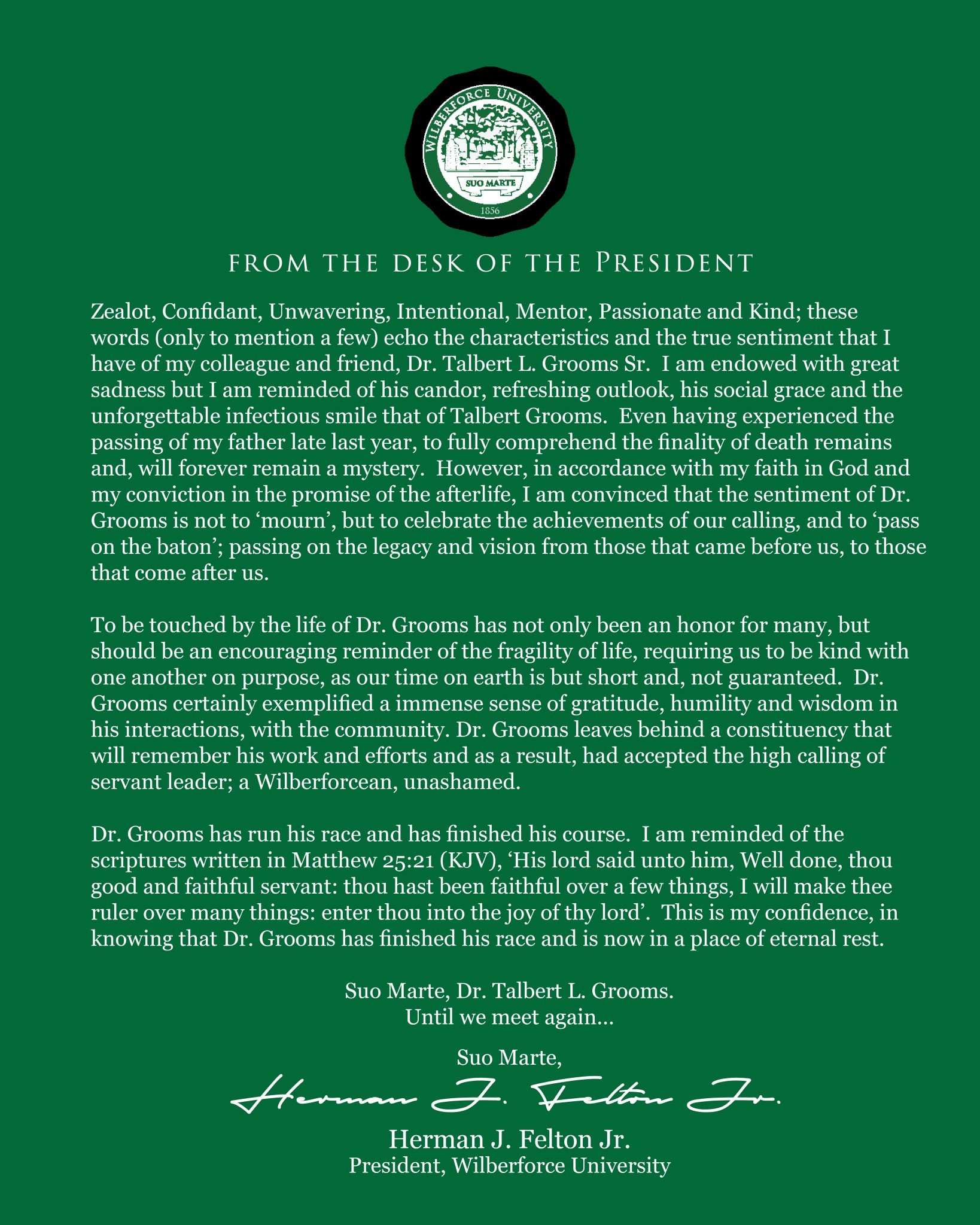 Special Message from the Wilberforce University President