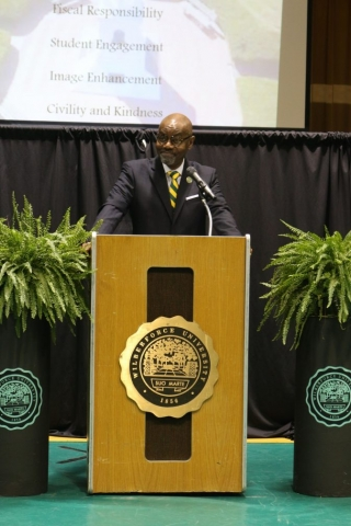 Wilberforce President in Podium