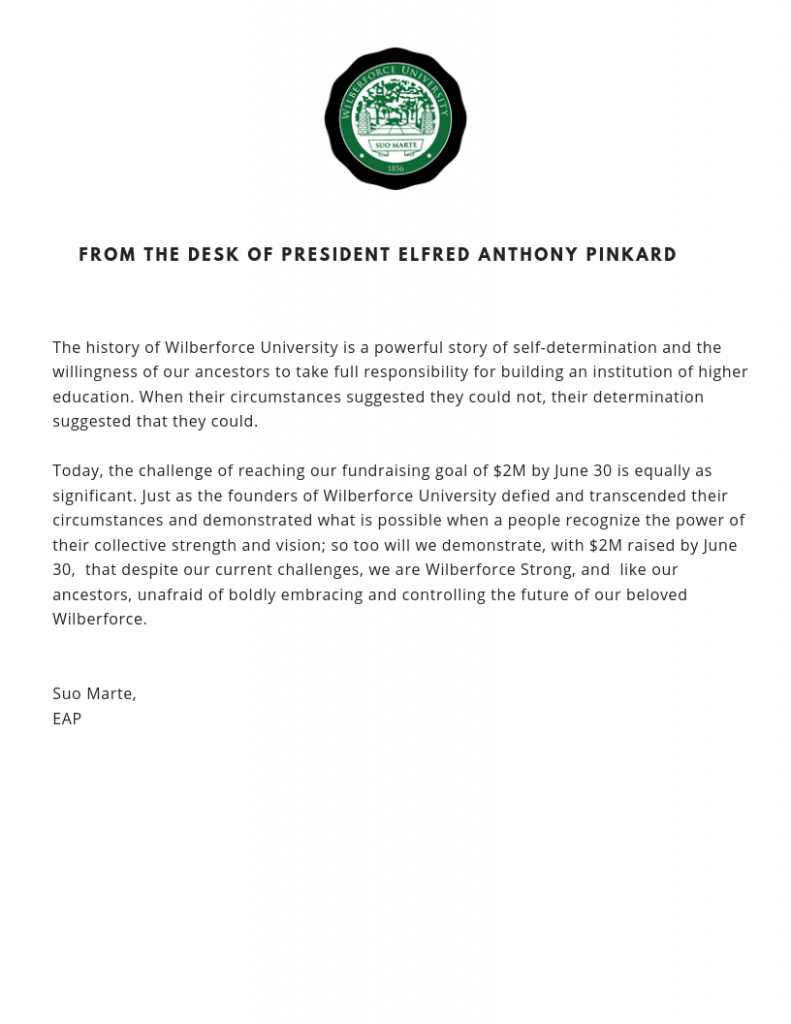From the Desk of President Elfred Anthony Pinkard
